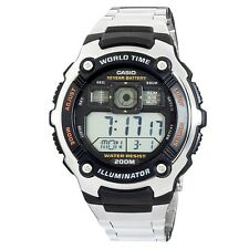 Casio AE2000WD-1A Mens 200M Stainless Steel Watch 5 Alarms World Time Stopwatch