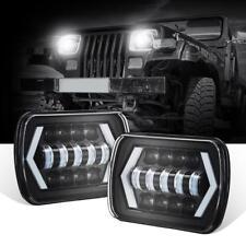 "2PCS 5X7"" 7X6"" LED Projector Headlight Hi-Low For Jeep Wrangler Cherokee XJ YJ"