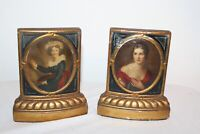 Vintage Victorian Style Bookends Mencarini & Bro. Portraits Victorian Women Pair