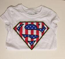 DC Super Girl USA Red White Blue Kids T-Shirt SM Gold Glitter Border Unisex