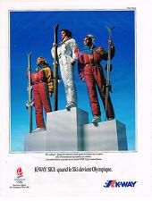 PUBLICITE ADVERTISING 045  1991   K-WAY vetements ski JEUX OLYMPIQUES ALBERTVIL