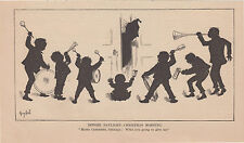 CHILDREN PLAYING MUSICAL INSTRUMENTS CHRISTMAS SILHOUETTE ANTIQUE PRINT 1880