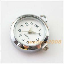 1 New Charms Tibetan Silver Round Pocket Watch Face Connectors 24.5x25.5mm