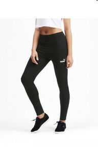 Puma Amplified Leggings M Black White Logo Fitted Cropped Womens New