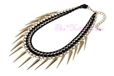 Punk Rock Black Ribbon on Matte Gold Double Chains & Spike Cone Collar Necklace