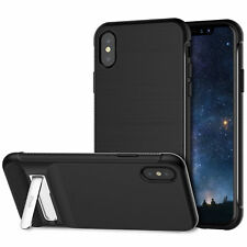 iPhone X Case Two-Layer Slim Protective Case Cover with Metal Kit-Stand Black
