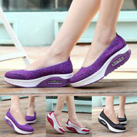 Women's Fashion Casual Wedge Wide Fit Platform Loafers Thick Bottom Shake Shoes