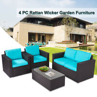 4 Pc Patio Wicker Sofa Sectional Set Couch Outdoor Furniture w/ Blue Cushion