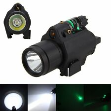 Green Laser Sight Hunting Scope&CREE LED Flashlight Combo Picatinny Rail Mount#A