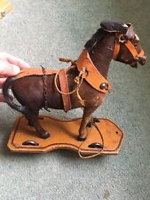 antique Old Vintage toy Rocking Horse German Pull Along Real Hair Wood Victorian