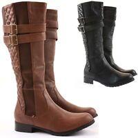 Womens Winter Biker Style Zip Low Flat Heel Calf  Knee Boots Size 3 - 8