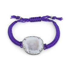 Kimberly McDonald Geode Diamond Bracelet Purple Macrame 18k Gold Jewelry