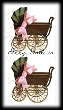Vintage Gifted Line Victorian Baby Pink Carriage Shower John Grossman Stickers
