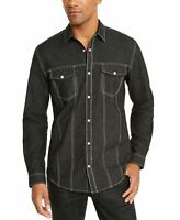 INC Mens Shirt Black Size Medium M Button Snap Shimmer Dual Pocket $65 #057