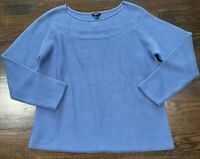 Talbots Open Knit Blue Sweater Women's Size XL Stretch Long Sleeves Boat Neck