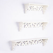 Set of 3 White Chic Filigree Floating Wall Shelves BookShop Display Storage Unit