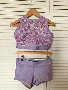 Details Dancewear Two piece Dance Shorts & Crop Top Girls Size XL