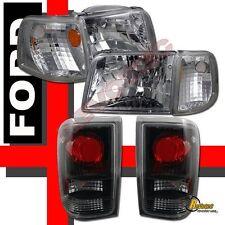 1993-1997 Ford Ranger Chrome Headlights Corner + Tail Lights Black RH + LH