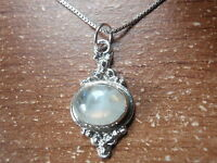 Moonstone Accented Oval 925 Sterling Silver Pendant