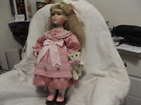 """BETHANY ANN"" ASHTON-DRAKE DOLL,18 INCHES, PORCELAIN/CLOTH MATERIAL,WOODEN STAND"