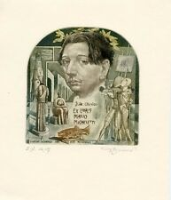 Hommage a Giorgio de Chirico Italian Artist, Ex libris Etching by David Bekker