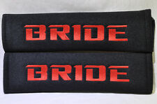 Embroidery Red on Black Bride Racing Logo Seat Belt Cover Shoulder Pads Pairs