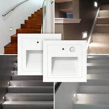 2er Set 3W 230V LED Wandeinbaustrahler Treppen Stufenlicht Lampe Bewegungsmelder