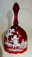 Fenton Art Glass Limited Edition 184 Ruby Glass Mary Gregory Bell 17745L