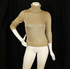 RALPH LAUREN  Gold Metallic Shiny Woman Turtle Neck Sweater
