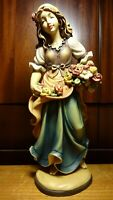 "VINTAGE 12"" WOODEN HAND CARVED DANCING GIRL WOMAN BOUQUET OF FLOWERS FIGURINE"