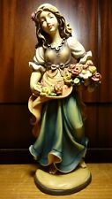 """VINTAGE 12"""" WOODEN HAND CARVED DANCING GIRL WOMAN BOUQUET OF FLOWERS FIGURINE"""