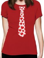 Red Hearts Tie for Valentine's Day Love Women T-Shirt Gift