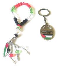 (2pcs) Palestine Flag Keychain Jerusalem Key Ring & Muslim Prayer Beads Tasbeeh