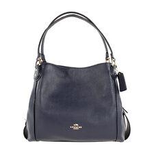 Coach Edie 31 Ladies Large Pebbled Leather Navy Shoulder Bag 57125