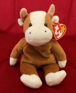 1995 TY Beanie Baby ~ BESSIE The Cow Style 4009 w/Tag Protector ~ PVC