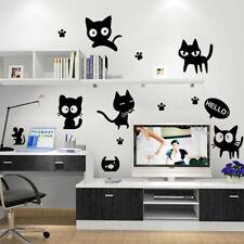 Black Cats Wall Stickers Bedroom Nursery Kids Room Removable Decals Murals