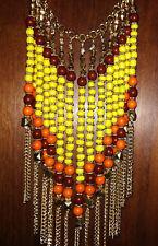 Statement-Collier, XXL-Halskette, Indien,Hippie,Gold-Farben mit Perlen,auffällig