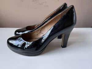 CLARKS SOFTWEAR Black Patent Leather Platform Court Shoes Size 6 Wide Fit
