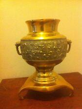 Vintage Solid Brass Three Footed Urn W 2 Handles Repose Designs