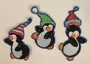 Silly Penguins With hats - Iron On Fabric Appliques - Holiday, Crafts