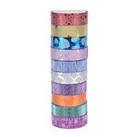 10x DIY Self Adhesive Glitter Washi Masking Tape Sticker Craft Decor 15mmx3m 99