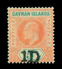 British CAYMAN ISLANDS 1907 KEVII handstamped SURCH. 1p on 5sh Scott# 19 mint MH