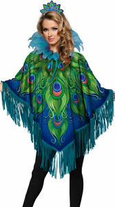 One Size Fits Most Womens Radiant Peacock Poncho Costume