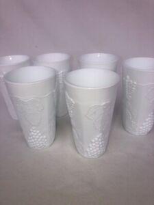 "Vintage 6 Tall Milk Glass Drinking Cups Tumbler GRAPE & LEAF PATTERN 6"" Each"
