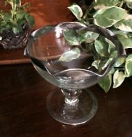 MCM Dorothy Thorpe compote bowl footed ball stem SILVER band dish vase