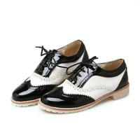 Chic Women Lace Up Saddle Oxford Shoes Black And White Cuban Heel Casual Brogues