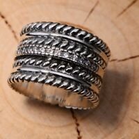S925 Real Silver Rings For Men Women Retro Wide Big Rope Shaped 14mm Ring 7.5-11