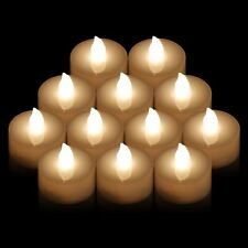 Warm White 12 Pack Flickering Flameless LED Tea Lights Candles Party Festival