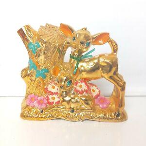 Gold Deer Vintage Vase Kitsch Japan forest flowers deer's 50s 60s mid century