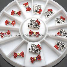 3D Nail Art Deco Hello Kitty & Bow Alloy Jewelry Glitter Rhinestone+Wheel #EB025